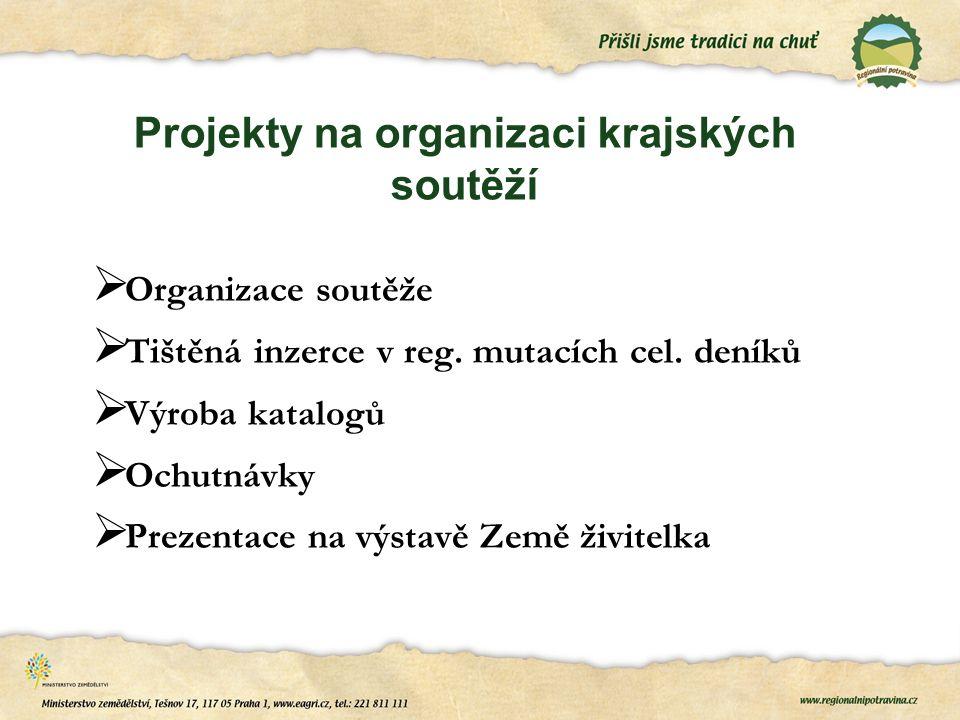 Projekty na organizaci krajských soutěží  Organizace soutěže  Tištěná inzerce v reg.