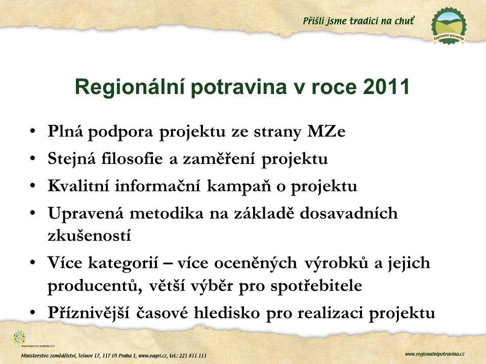 Regionální potravina v roce 2011 Plná podpora projektu ze strany MZe Stejná filosofie a zaměření projektu Kvalitní informační kampaň o projektu Uprave