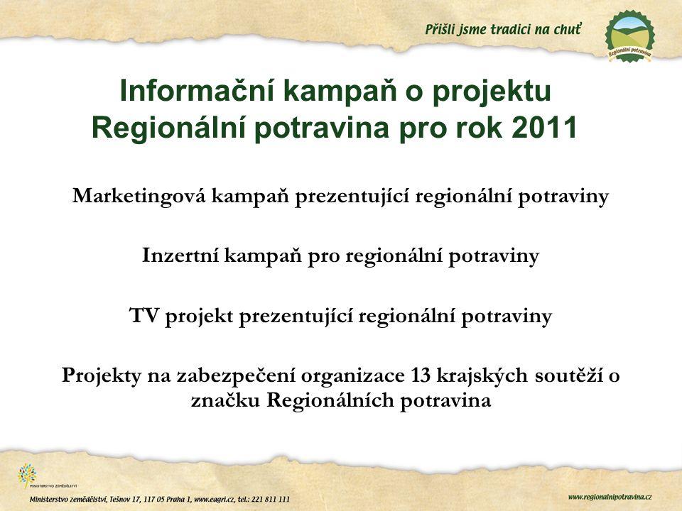 Informační kampaň o projektu Regionální potravina pro rok 2011 Marketingová kampaň prezentující regionální potraviny Inzertní kampaň pro regionální potraviny TV projekt prezentující regionální potraviny Projekty na zabezpečení organizace 13 krajských soutěží o značku Regionálních potravina