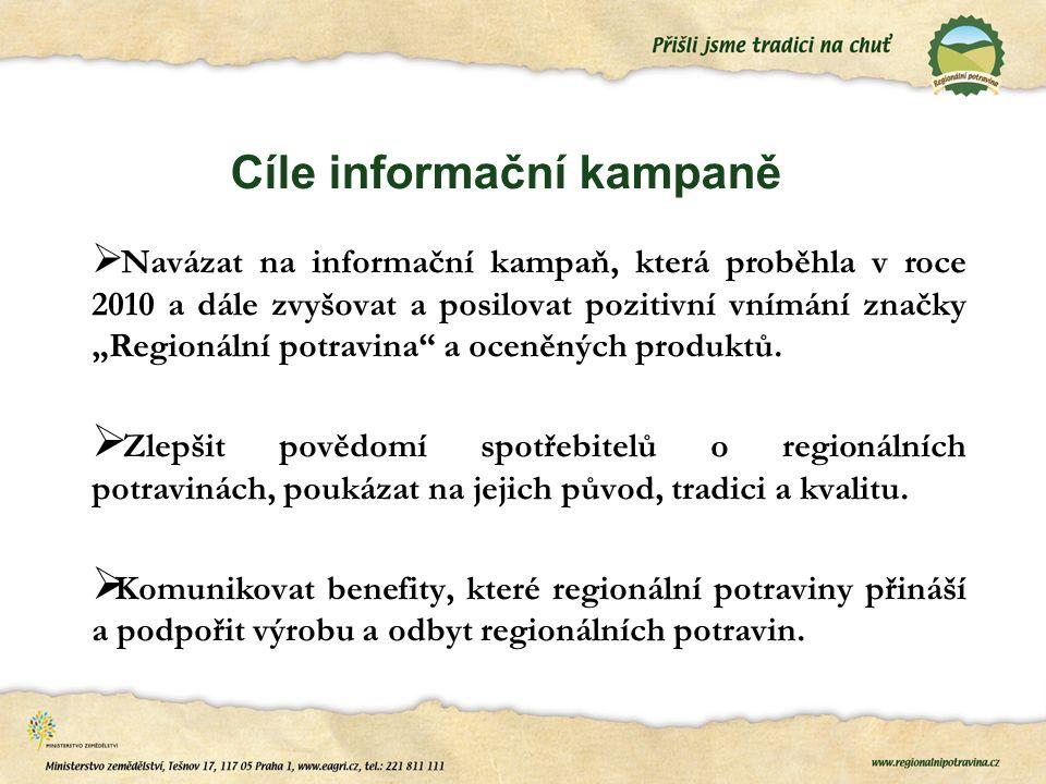 """Cíle informační kampaně  Navázat na informační kampaň, která proběhla v roce 2010 a dále zvyšovat a posilovat pozitivní vnímání značky """"Regionální potravina a oceněných produktů."""