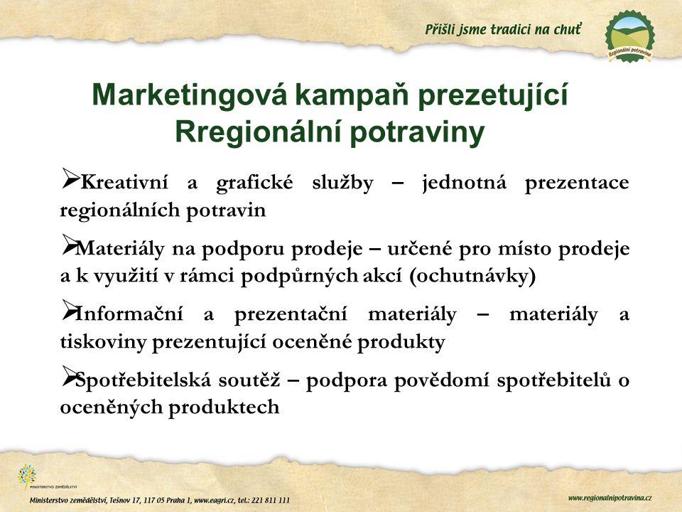Marketingová kampaň prezetující Rregionální potraviny  Kreativní a grafické služby – jednotná prezentace regionálních potravin  Materiály na podporu prodeje – určené pro místo prodeje a k využití v rámci podpůrných akcí (ochutnávky)  Informační a prezentační materiály – materiály a tiskoviny prezentující oceněné produkty  Spotřebitelská soutěž – podpora povědomí spotřebitelů o oceněných produktech
