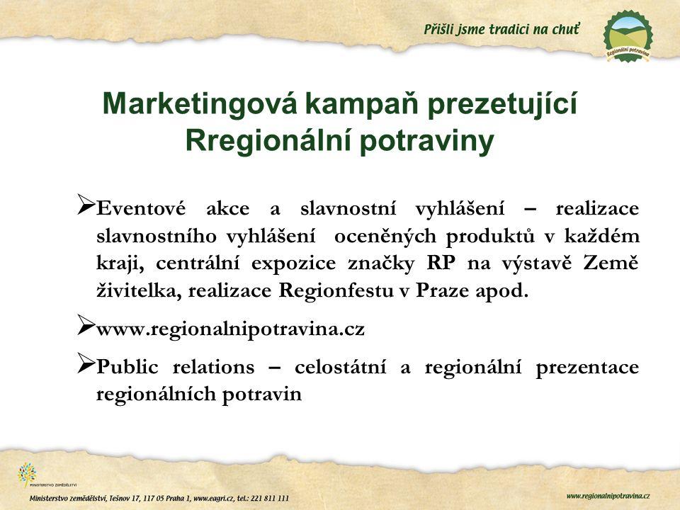 Marketingová kampaň prezetující Rregionální potraviny  Eventové akce a slavnostní vyhlášení – realizace slavnostního vyhlášení oceněných produktů v k