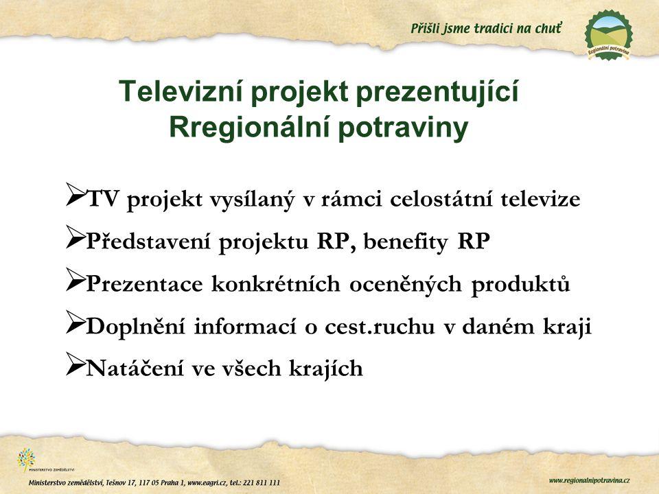 Televizní projekt prezentující Rregionální potraviny  TV projekt vysílaný v rámci celostátní televize  Představení projektu RP, benefity RP  Prezentace konkrétních oceněných produktů  Doplnění informací o cest.ruchu v daném kraji  Natáčení ve všech krajích