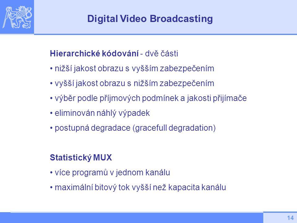 14 Hierarchické kódování - dvě části nižší jakost obrazu s vyšším zabezpečením vyšší jakost obrazu s nižším zabezpečením výběr podle příjmových podmínek a jakosti přijímače eliminován náhlý výpadek postupná degradace (gracefull degradation) Statistický MUX více programů v jednom kanálu maximální bitový tok vyšší než kapacita kanálu Digital Video Broadcasting