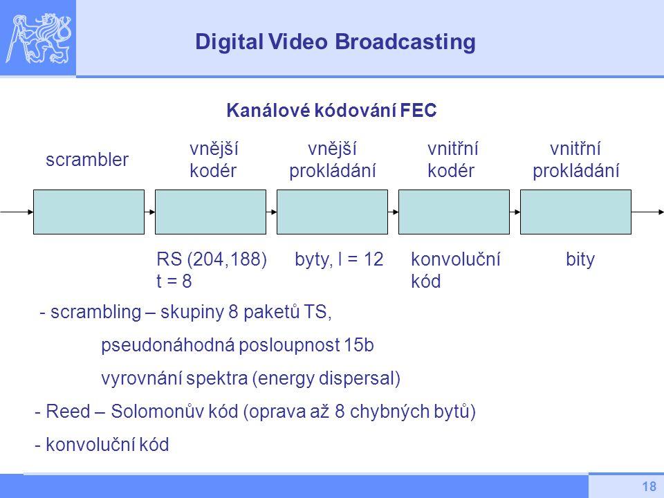 18 - scrambling – skupiny 8 paketů TS, pseudonáhodná posloupnost 15b vyrovnání spektra (energy dispersal) - Reed – Solomonův kód (oprava až 8 chybných bytů) - konvoluční kód Kanálové kódování FEC scrambler vnější kodér vnitřní kodér vnější prokládání vnitřní prokládání RS (204,188) t = 8 konvoluční kód byty, I = 12bity Digital Video Broadcasting