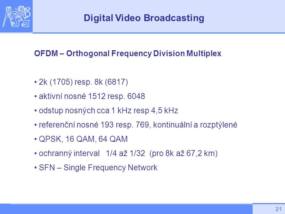 21 OFDM – Orthogonal Frequency Division Multiplex 2k (1705) resp. 8k (6817) aktivní nosné 1512 resp. 6048 odstup nosných cca 1 kHz resp 4,5 kHz refere