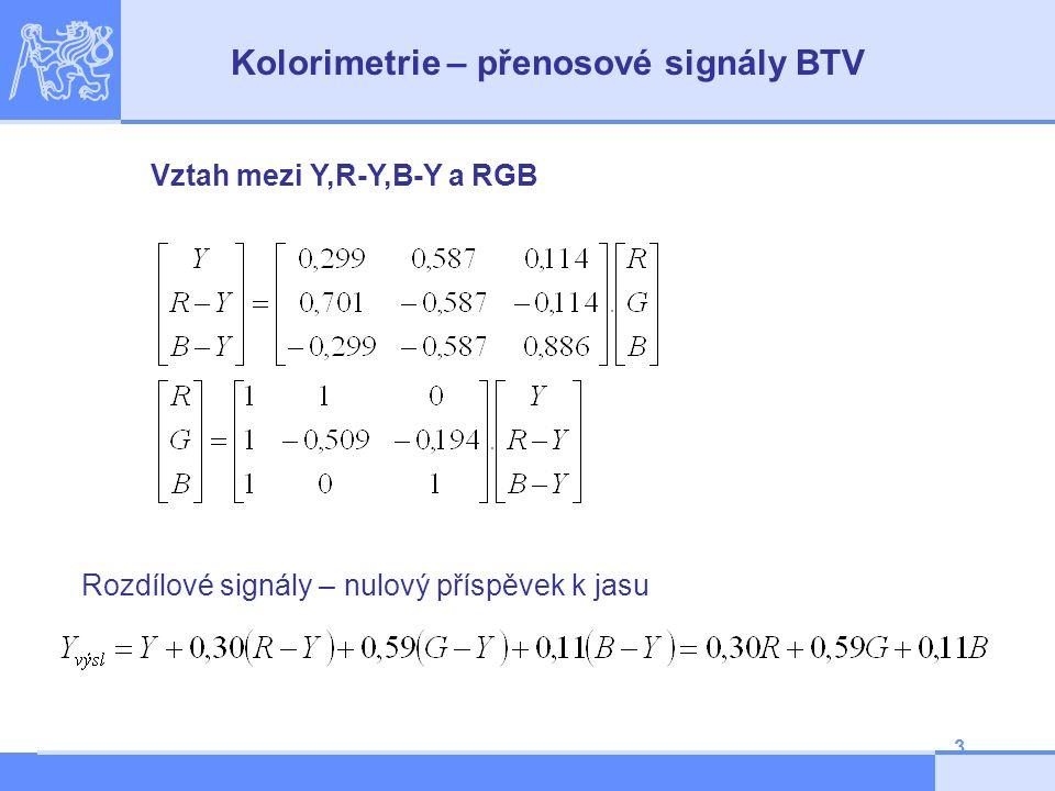3 Vztah mezi Y,R-Y,B-Y a RGB Kolorimetrie – přenosové signály BTV Rozdílové signály – nulový příspěvek k jasu