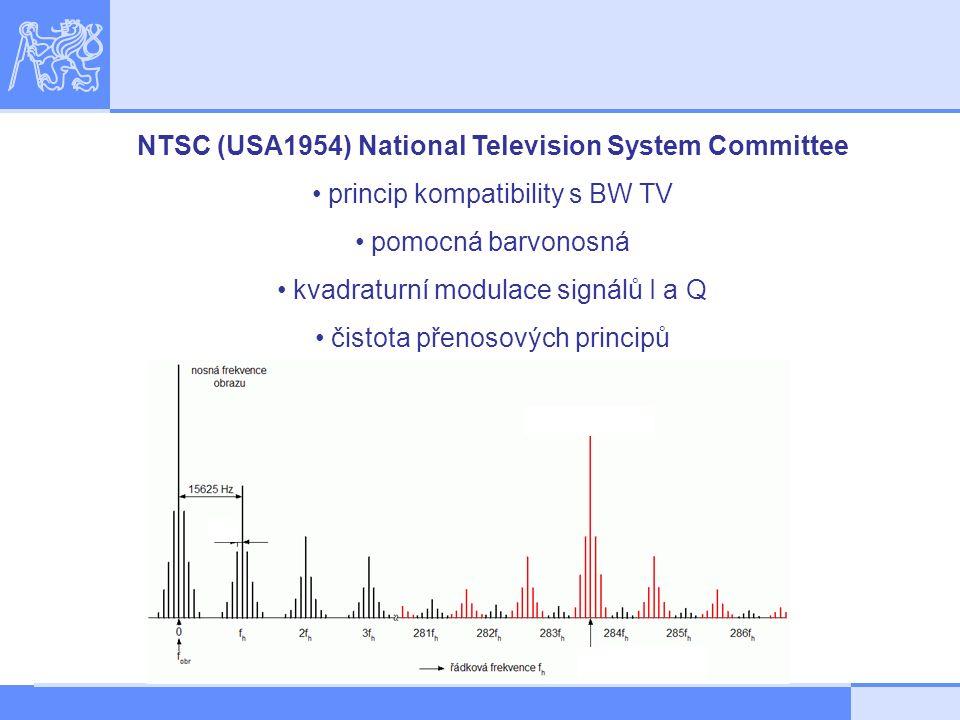 NTSC (USA1954) National Television System Committee princip kompatibility s BW TV pomocná barvonosná kvadraturní modulace signálů I a Q čistota přenosových principů
