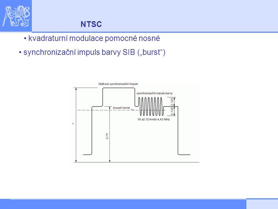 """NTSC kvadraturní modulace pomocné nosné synchronizační impuls barvy SIB (""""burst )"""