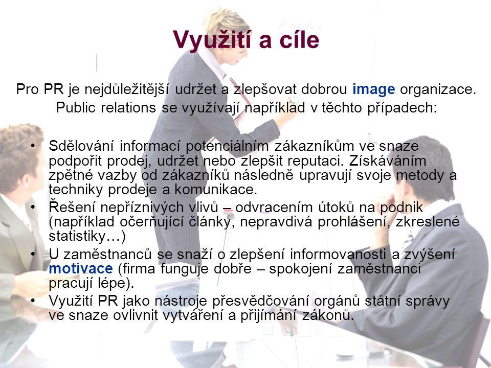 Využití a cíle Pro PR je nejdůležitější udržet a zlepšovat dobrou image organizace.