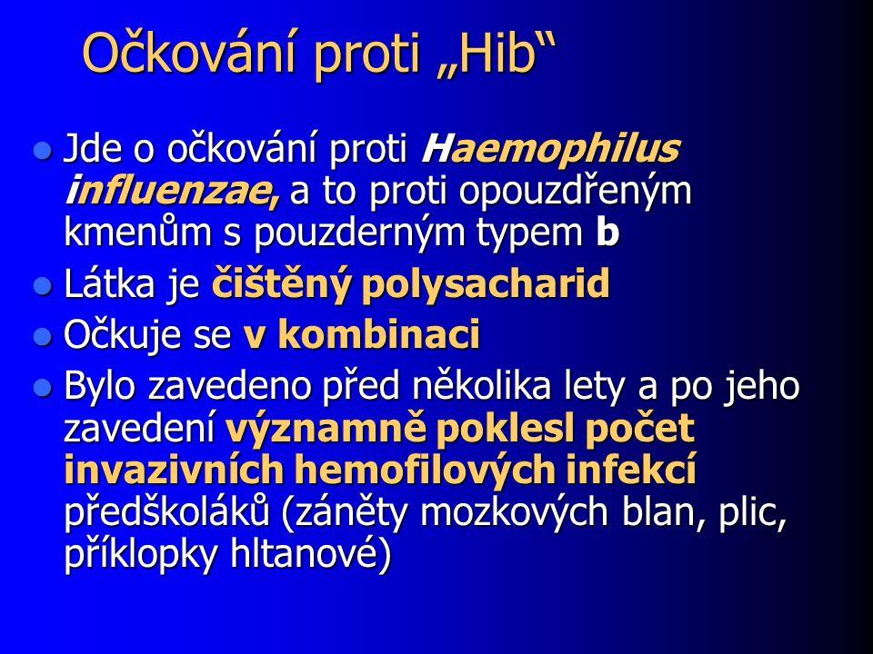 """Očkování proti """"Hib"""" Jde o očkování proti Haemophilus influenzae, a to proti opouzdřeným kmenům s pouzderným typem b Jde o očkování proti Haemophilus"""
