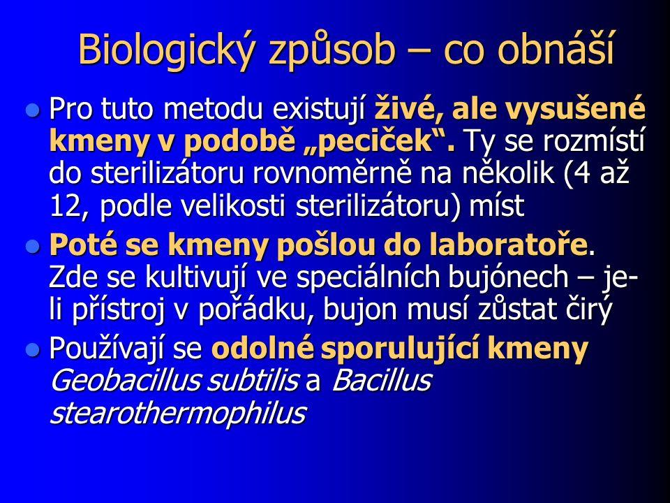 """Biologický způsob – co obnáší Pro tuto metodu existují živé, ale vysušené kmeny v podobě """"peciček"""". Ty se rozmístí do sterilizátoru rovnoměrně na něko"""