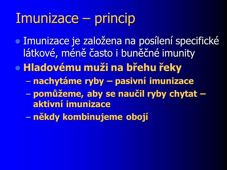 Imunizace – princip Imunizace je založena na posílení specifické látkové, méně často i buněčné imunity Imunizace je založena na posílení specifické lá