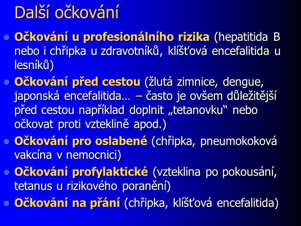 Další očkování Očkování u profesionálního rizika (hepatitida B nebo i chřipka u zdravotníků, klíšťová encefalitida u lesníků) Očkování u profesionální