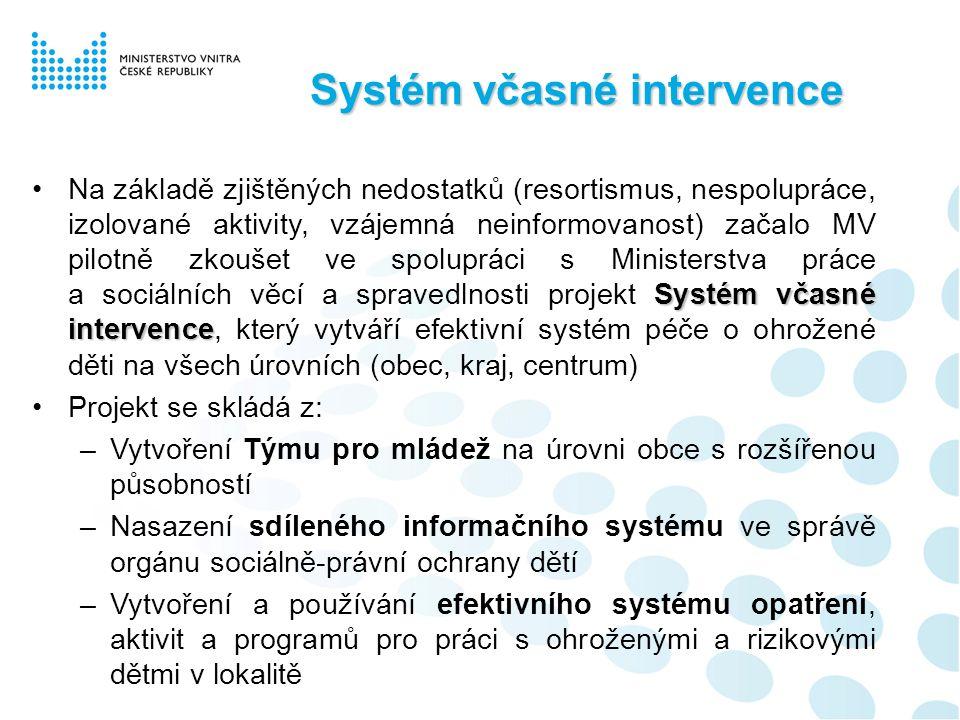 Systém včasné intervence Zásadním problémem nadále zůstává prosazování práva při výkonu agendy systému péče o ohrožené děti na úrovni obcí (ORP).