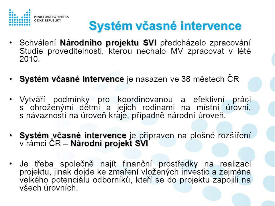 Systém včasné intervence Systému včasné intervenceMV řeší také problematiku informovanosti obcí, které zatím nejsou zapojeny do Systému včasné intervence V roce 2008 bylo z rozhodnutí ředitelky odboru prevence kriminality MV, Mgr.
