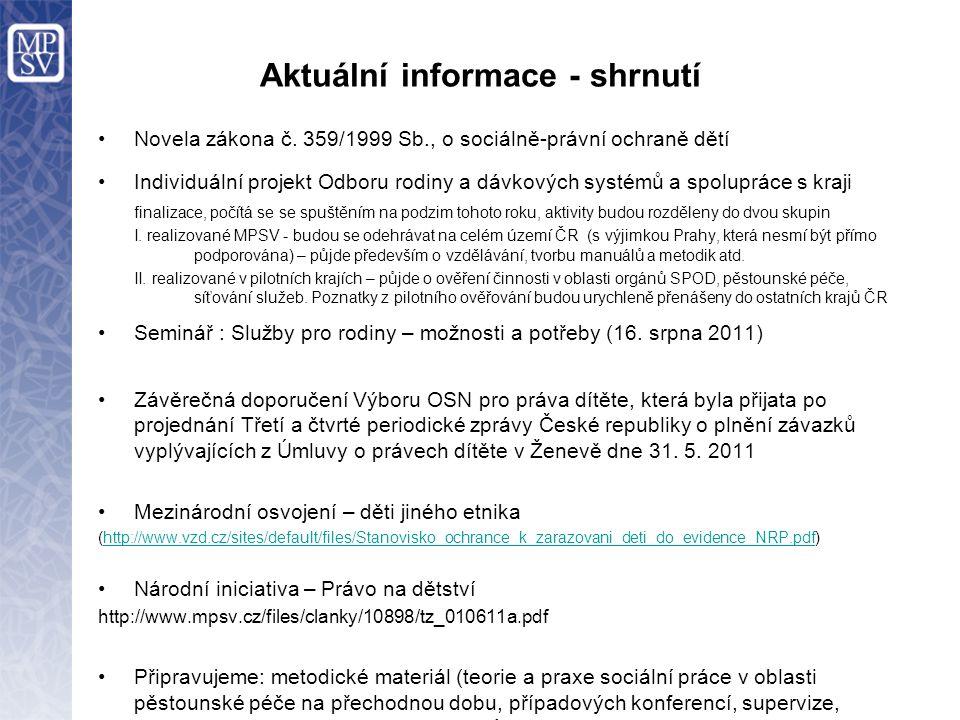 Aktuální informace - shrnutí Novela zákona č.