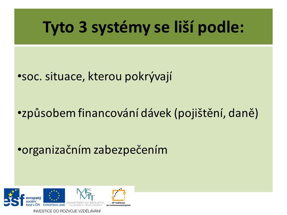 Tyto 3 systémy se liší podle: soc.
