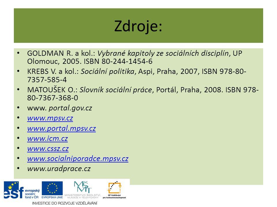 Zdroje: GOLDMAN R. a kol.: Vybrané kapitoly ze sociálních disciplín, UP Olomouc, 2005.