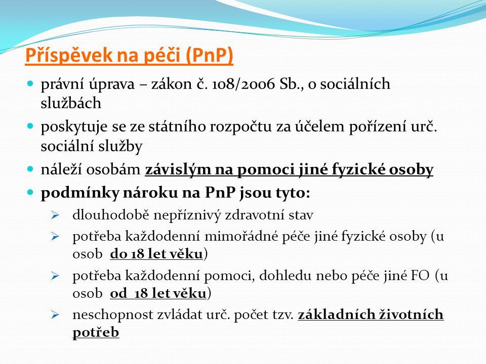Příspěvek na péči (PnP) právní úprava – zákon č.