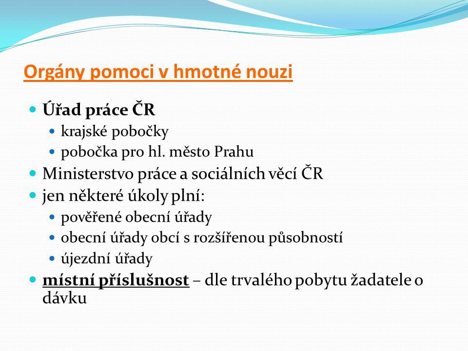 Orgány pomoci v hmotné nouzi Úřad práce ČR krajské pobočky pobočka pro hl.