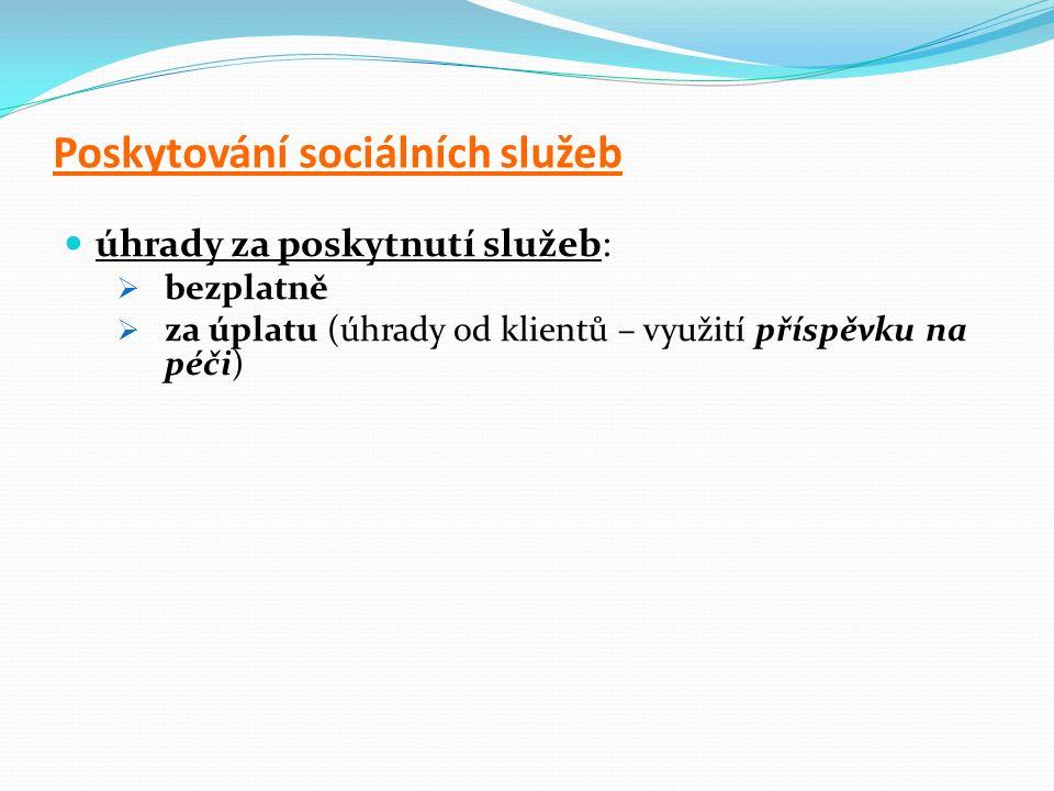 Poskytování sociálních služeb úhrady za poskytnutí služeb:  bezplatně  za úplatu (úhrady od klientů – využití příspěvku na péči)