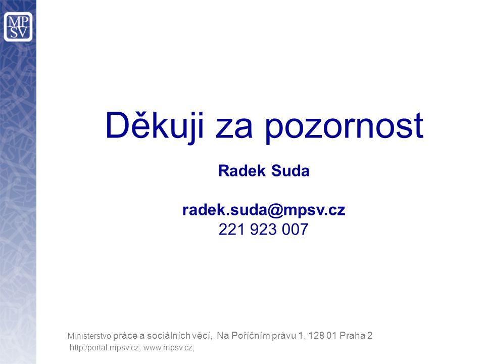 http:/portal.mpsv.cz, www.mpsv.cz, Ministerstvo práce a sociálních věcí, Na Poříčním právu 1, 128 01 Praha 2 Děkuji za pozornost Radek Suda radek.suda@mpsv.cz 221 923 007