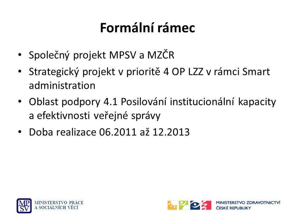 Formální rámec Společný projekt MPSV a MZČR Strategický projekt v prioritě 4 OP LZZ v rámci Smart administration Oblast podpory 4.1 Posilování institu