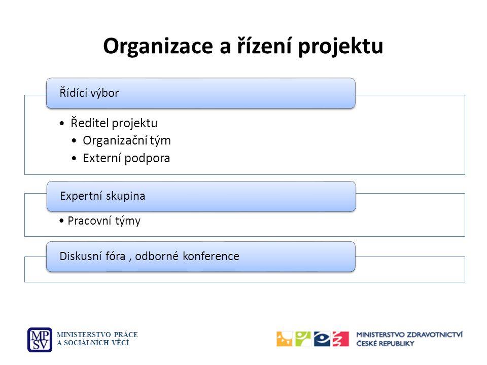 Organizace a řízení projektu MINISTERSTVO PRÁCE A SOCIÁLNÍCH VĚCÍ Ředitel projektu Organizační tým Externí podpora Řídící výbor Pracovní týmy Expertní skupinaDiskusní fóra, odborné konference
