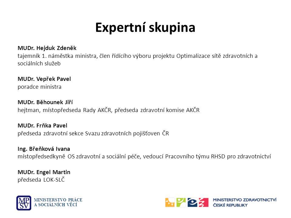 Expertní skupina MUDr. Hejduk Zdeněk tajemník 1. náměstka ministra, člen řídícího výboru projektu Optimalizace sítě zdravotních a sociálních služeb MU