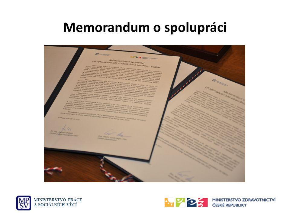 Memorandum o spolupráci MINISTERSTVO PRÁCE A SOCIÁLNÍCH VĚCÍ