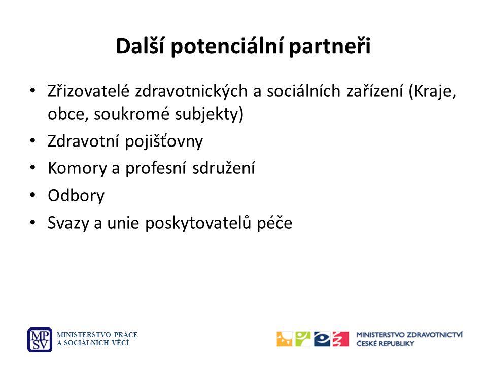 Další potenciální partneři Zřizovatelé zdravotnických a sociálních zařízení (Kraje, obce, soukromé subjekty) Zdravotní pojišťovny Komory a profesní sd