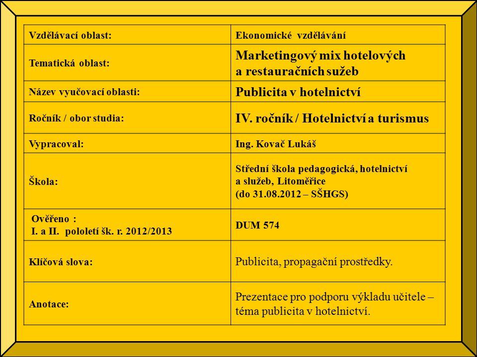 Vzdělávací oblast:Ekonomické vzdělávání Tematická oblast: Marketingový mix hotelových a restauračních sužeb Název vyučovací oblasti: Publicita v hotelnictví Ročník / obor studia: IV.