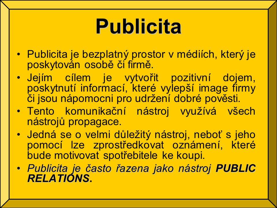 Publicita Publicita je bezplatný prostor v médiích, který je poskytován osobě či firmě.