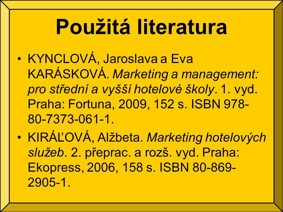 Použitá literatura KYNCLOVÁ, Jaroslava a Eva KARÁSKOVÁ.
