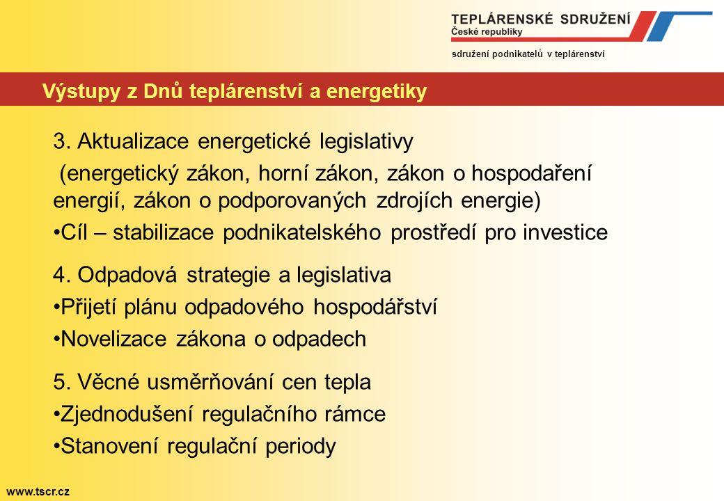 sdružení podnikatelů v teplárenství www.tscr.cz Výstupy z Dnů teplárenství a energetiky 3.