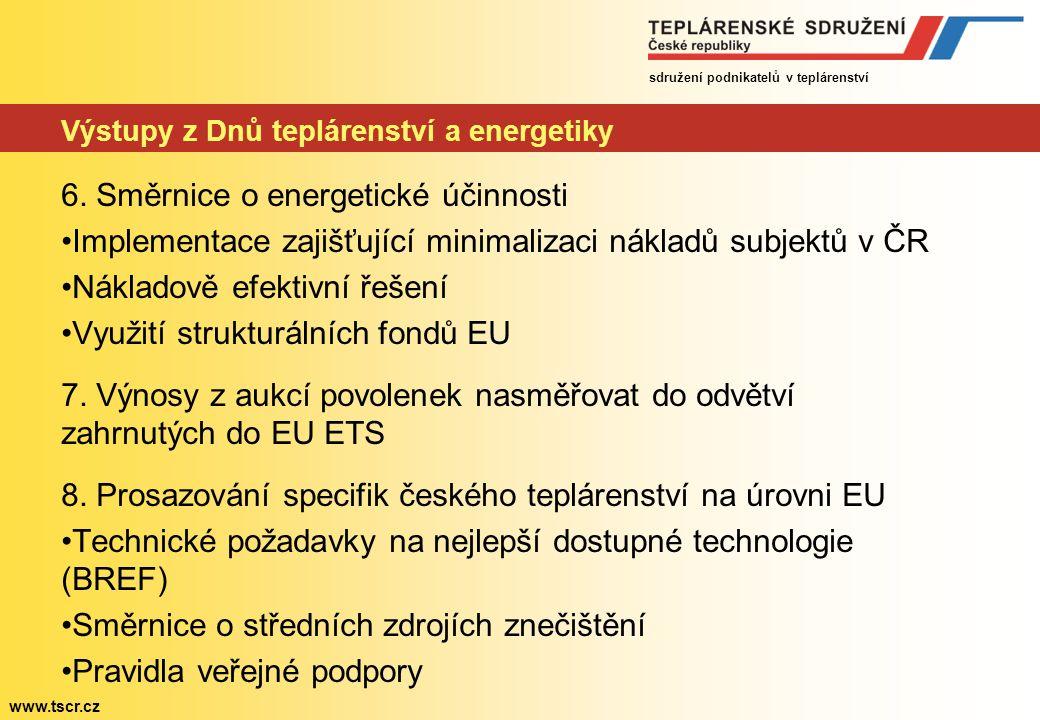 sdružení podnikatelů v teplárenství www.tscr.cz Výstupy z Dnů teplárenství a energetiky 6.