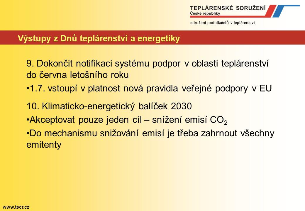 sdružení podnikatelů v teplárenství www.tscr.cz Výstupy z Dnů teplárenství a energetiky 9.