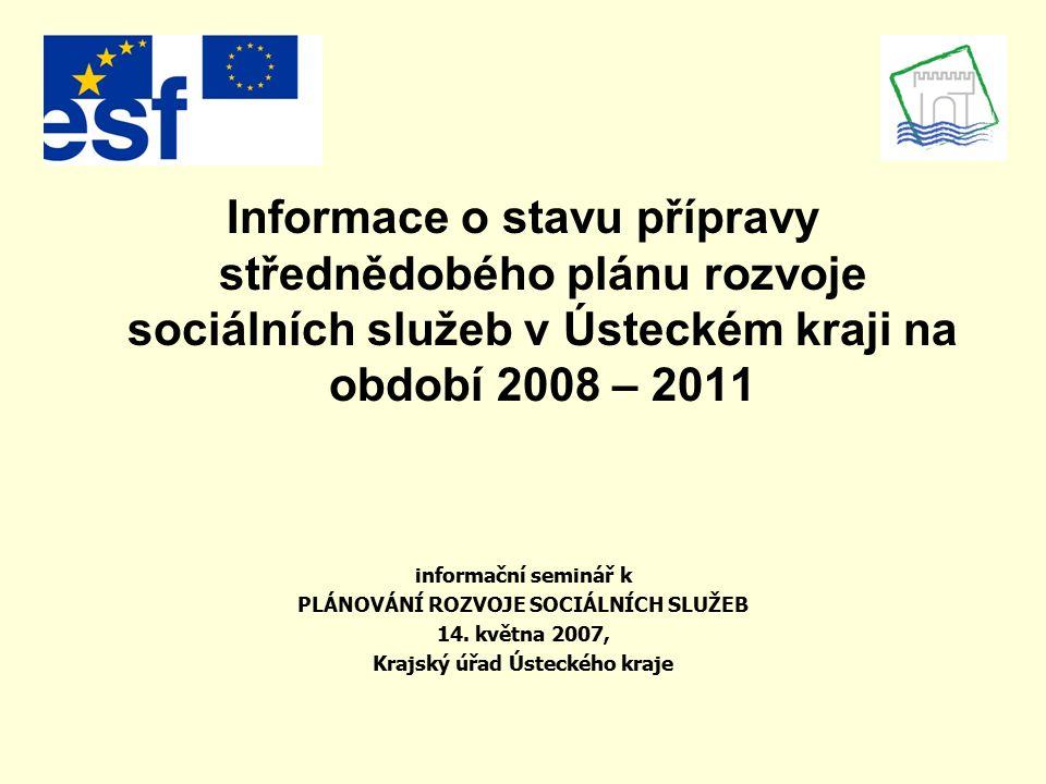 Informace o stavu přípravy střednědobého plánu rozvoje sociálních služeb v Ústeckém kraji na období 2008 – 2011 informační seminář k PLÁNOVÁNÍ ROZVOJE