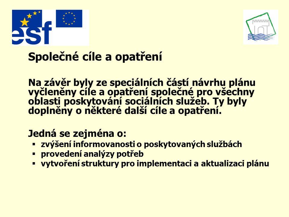 Společné cíle a opatření Na závěr byly ze speciálních částí návrhu plánu vyčleněny cíle a opatření společné pro všechny oblasti poskytování sociálních
