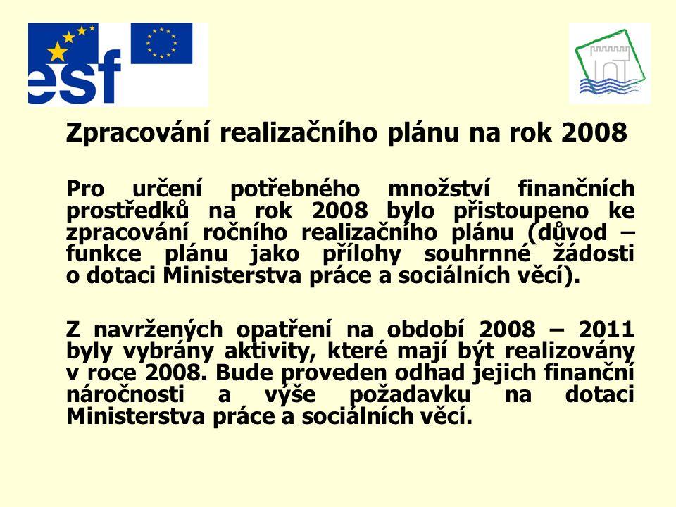 Zpracování realizačního plánu na rok 2008 Pro určení potřebného množství finančních prostředků na rok 2008 bylo přistoupeno ke zpracování ročního realizačního plánu (důvod – funkce plánu jako přílohy souhrnné žádosti o dotaci Ministerstva práce a sociálních věcí).
