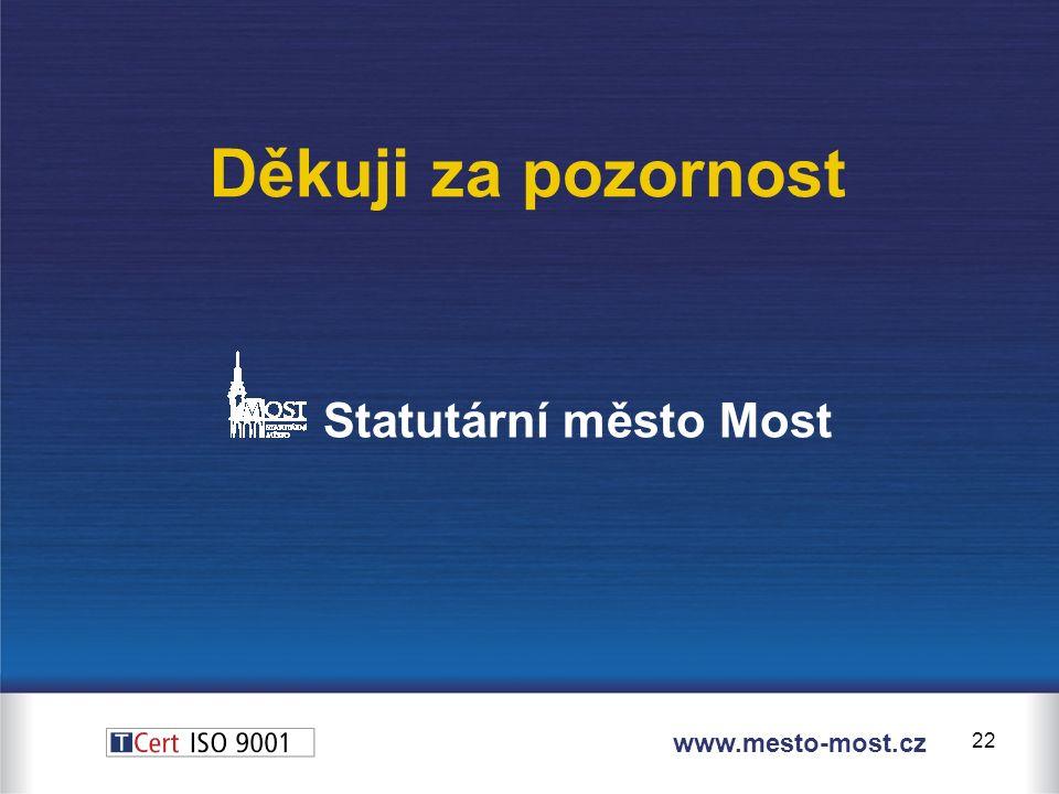 Statutární město Most Děkuji za pozornost www.mesto-most.cz 22