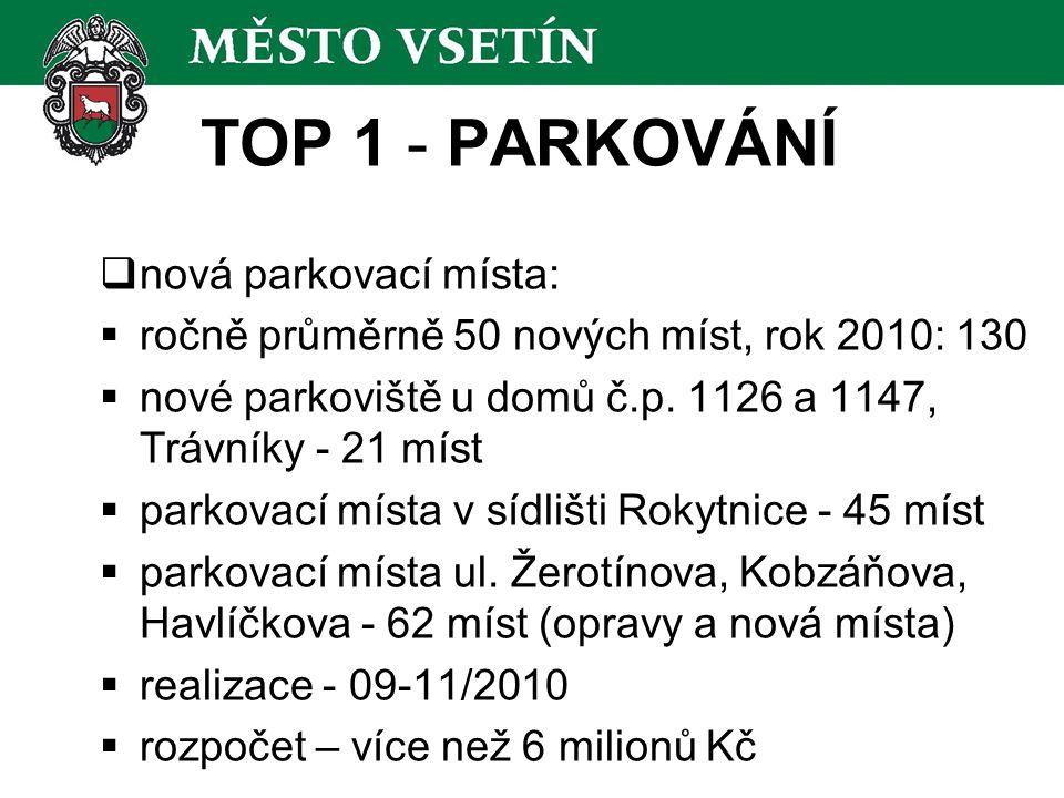 TOP 1 - PARKOVÁNÍ  nová parkovací místa:  ročně průměrně 50 nových míst, rok 2010: 130  nové parkoviště u domů č.p.