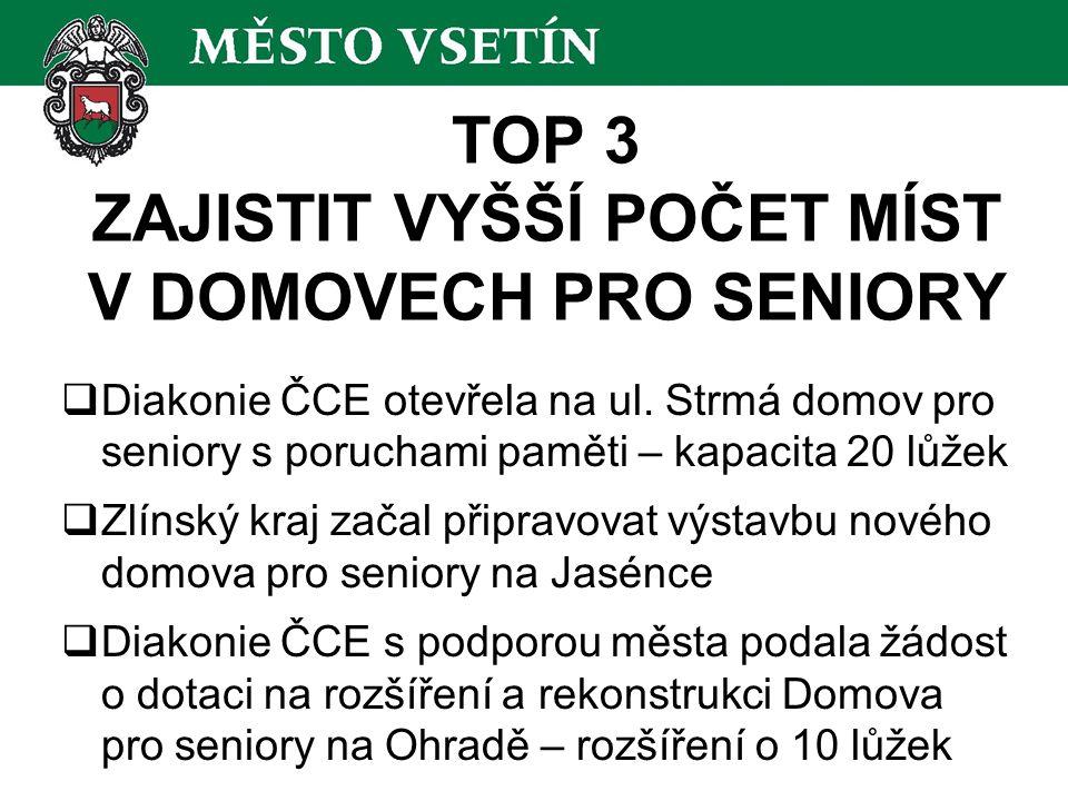 TOP 3 ZAJISTIT VYŠŠÍ POČET MÍST V DOMOVECH PRO SENIORY  Diakonie ČCE otevřela na ul.
