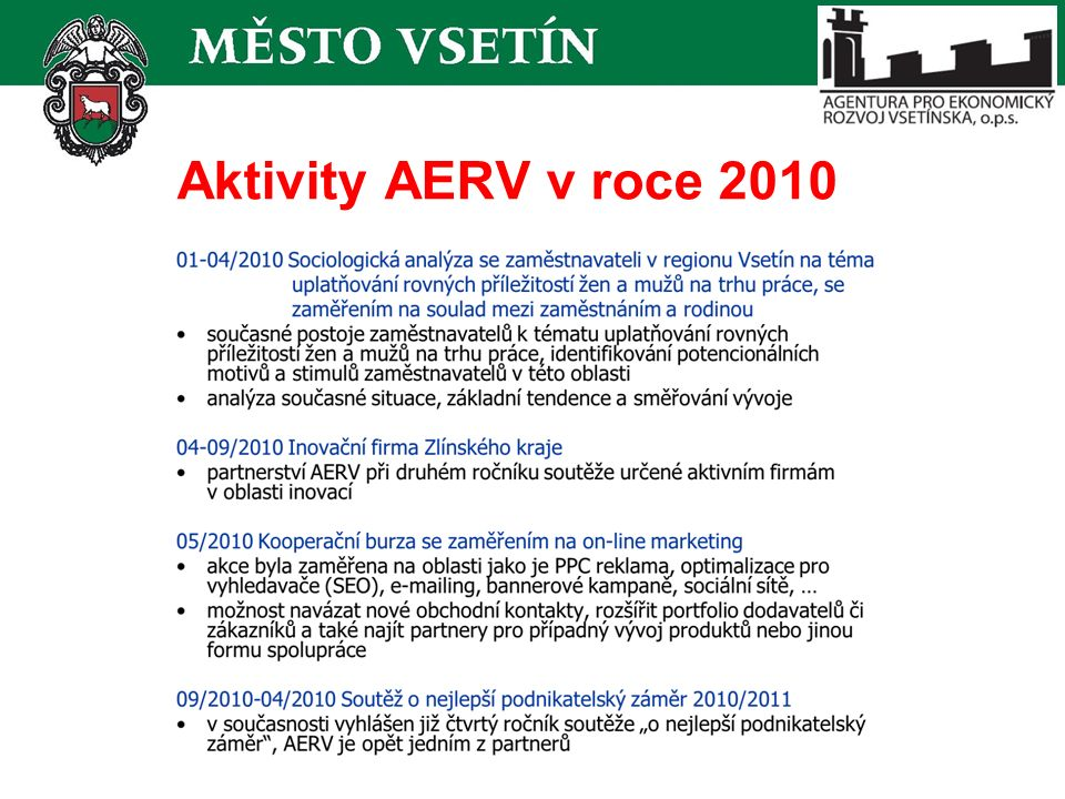 Aktivity AERV v roce 2010