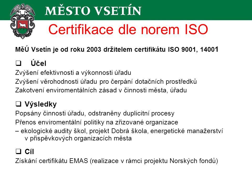 Certifikace dle norem ISO MěÚ Vsetín je od roku 2003 držitelem certifikátu ISO 9001, 1400 1  Účel Zvýšení efektivnosti a výkonnosti úřadu Zvýšení věrohodnosti úřadu pro čerpání dotačních prostředků Zakotvení enviromentálních zásad v činnosti města, úřadu  Výsledky Popsány činnosti úřadu, odstraněny duplicitní procesy Přenos enviromentální politiky na zřizované organizace – ekologické audity škol, projekt Dobrá škola, energetické manažerství v přispěvkových organizacích města  Cíl Získání certifikátu EMAS (realizace v rámci projektu Norských fondů)