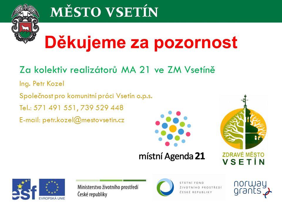 Děkujeme za pozornost Za kolektiv realizátorů MA 21 ve ZM Vsetíně Ing.