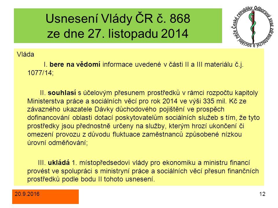 Usnesení Vlády ČR č. 868 ze dne 27. listopadu 2014 Vláda I.