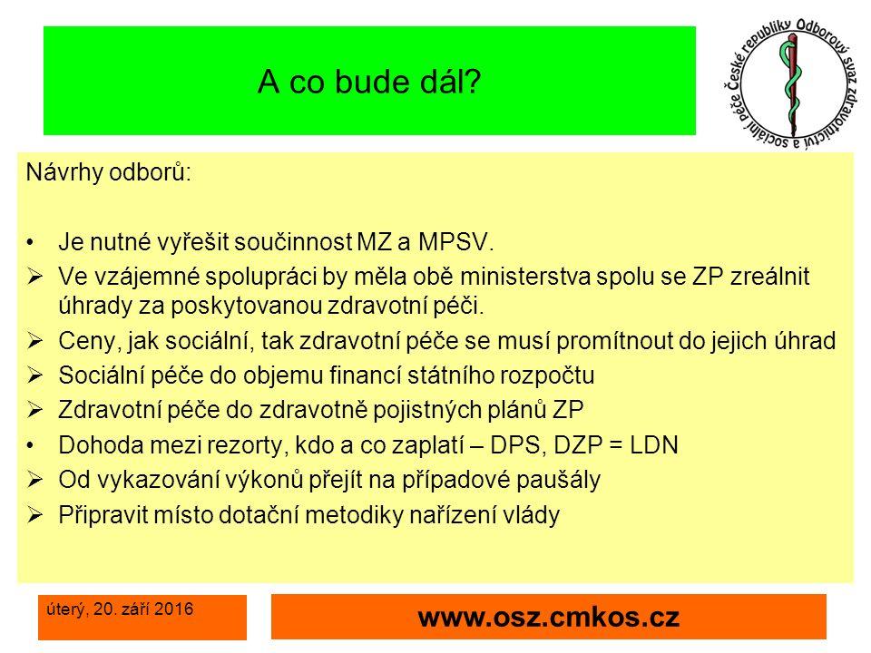 úterý, 20. září 2016 www.osz.cmkos.cz A co bude dál.