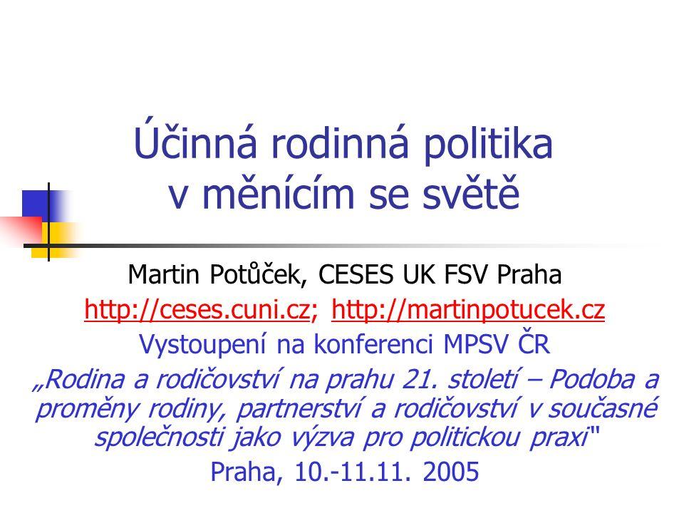 """Účinná rodinná politika v měnícím se světě Martin Potůček, CESES UK FSV Praha http://ceses.cuni.czhttp://ceses.cuni.cz; http://martinpotucek.czhttp://martinpotucek.cz Vystoupení na konferenci MPSV ČR """"Rodina a rodičovství na prahu 21."""